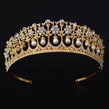 Gold Color Luxury Bridal Crystal Pageant Tiara Crown Princess Queen Prom Rhinestone Veil Tiara Headband Wedding Hair Accessories