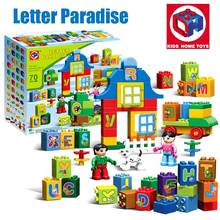 Large Size 70PCS Girl's Dream Letters Paradise Model Figures Building Blocks Bricks Toy Kids Home Toys Compatible With Duplo