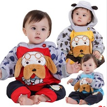 2017 new children's winter clothing sets with cartoon dog design baby hooded winter sets coat + pant kids clothes sets, C267