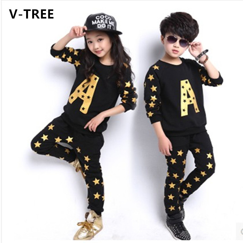 V-TREE NEW 2016 autumn boys clothing set fashion brands teenage girls boys sport set cotton kids clothes set outerwear<br><br>Aliexpress