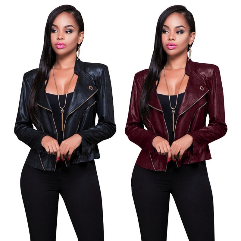Bomber Jacket 2017 New Womens Blazer Motorcycle Leather Jackets Female Wind Zipper Bright Coat Black Jaqueta Feminina Chaquetas