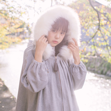 Vintage Chinese Style Women'st Winter Coat Big Faux Fur Trim Hat Light Grey Outwear Long Sleeve Cute Trench