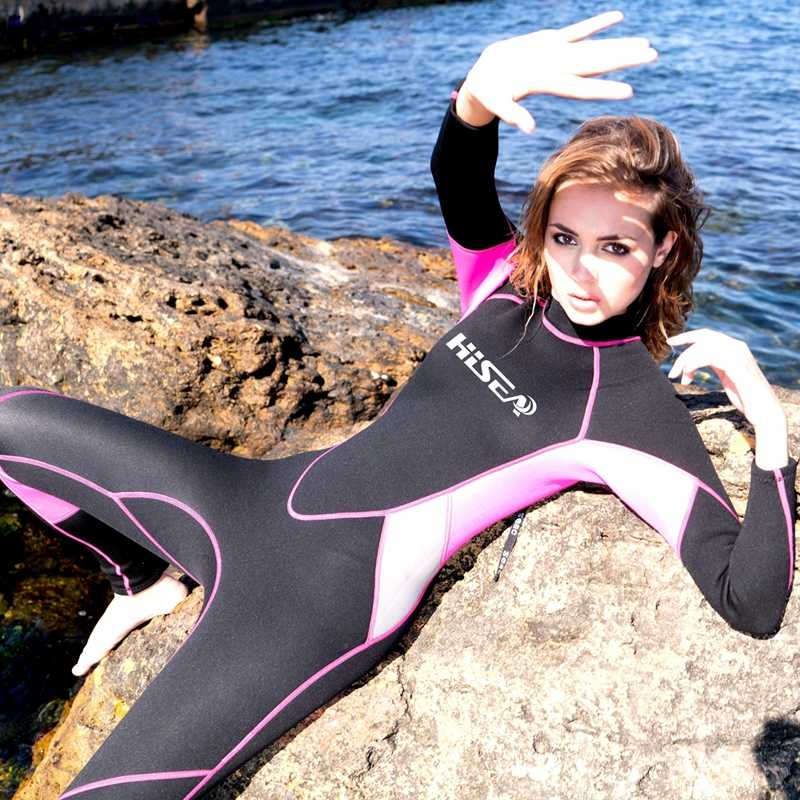 2c5bb95b30 Hisea Professional 3 mm Women Neoprene Wetsuit Diving suit Equipment One  Pieces full bodysuit Warm surfing