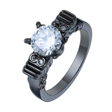 hot sale vintage black gun promise Rings crown new fashion jewelry gift princess white czech zircon Engagement Ring for women