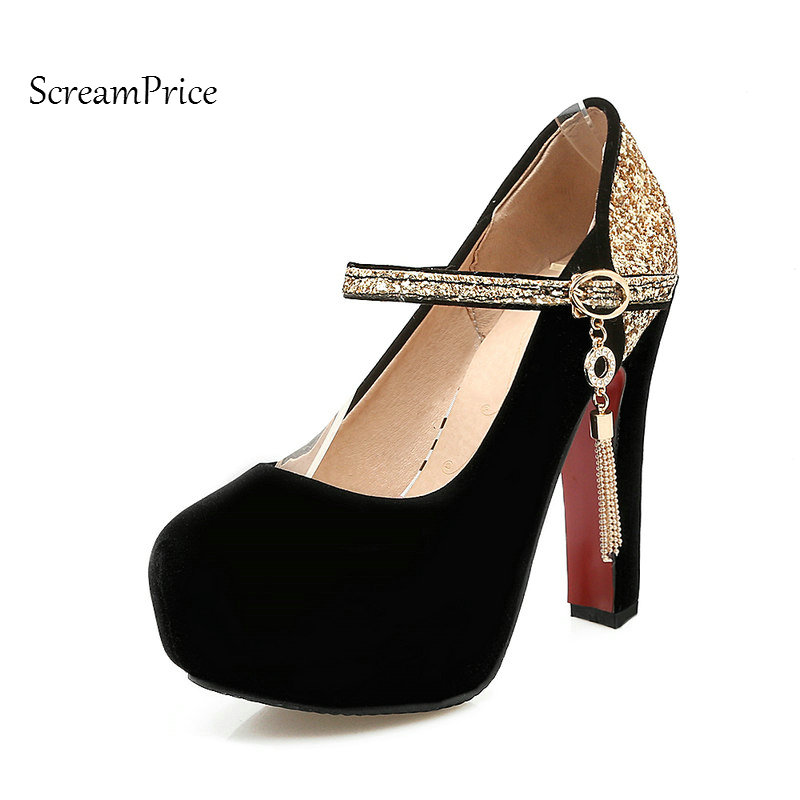 Faux Suede Bling Platform Thick High Heel Woman Pumps Fashion Buckle Wedding High Heel Shoes Spring Autumn Woman Shoes Black Red<br>
