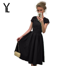 YL Formal Dresses Women 2017 New O-neck Solid Five Colour Backless Patchwork Short Sleeve Knee Length Club Dresses Plus Size
