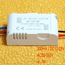 300mA DC 12V~25V (4-7)x 1W Isolated Led Driver 4W 5W 6W 7W Power Supply AC 110V 220V for ceiling light, spotlight