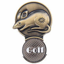 Metal Sports Gift 3.6*5.4 cm Chinese Classic style Zodiac Rat Golf Ball Marker Clip On Hat Visor(China)
