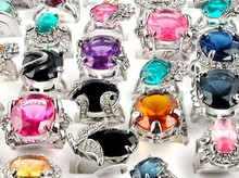 wholesale jewelry lots 5pcs Big Natural Stone Sliver P Rings For Women Men New