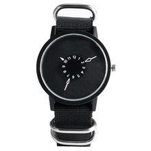 PAIDU Men Watches Special Design Women Quartz Watch Nylon Band Strap Turntable Round Dial Simple Sport Stylish Clock For Boy