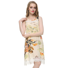 Women plus size lace floral print mini shift Dress vintage O neck sleeveless casual vestido de festa club wear dress QZ1976