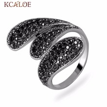 KCALOE Long Vintage Rings For Women Black Crystal Rhinestone Jewelry Anillos Antique Silver Plated Retro Big Leaf Ring Anel(China)