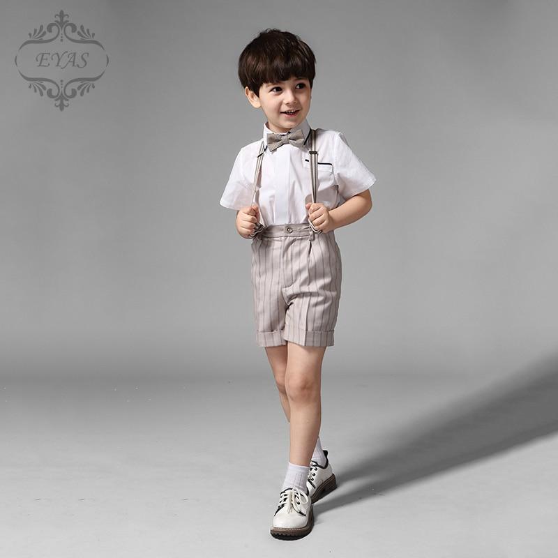 2016 Eyas Child Boys Khaki Stripes Suspenders 4-pc Short Set with Bowtie Boy Suit Sets Ring Bearer Shirt 100% cotton K5222<br>