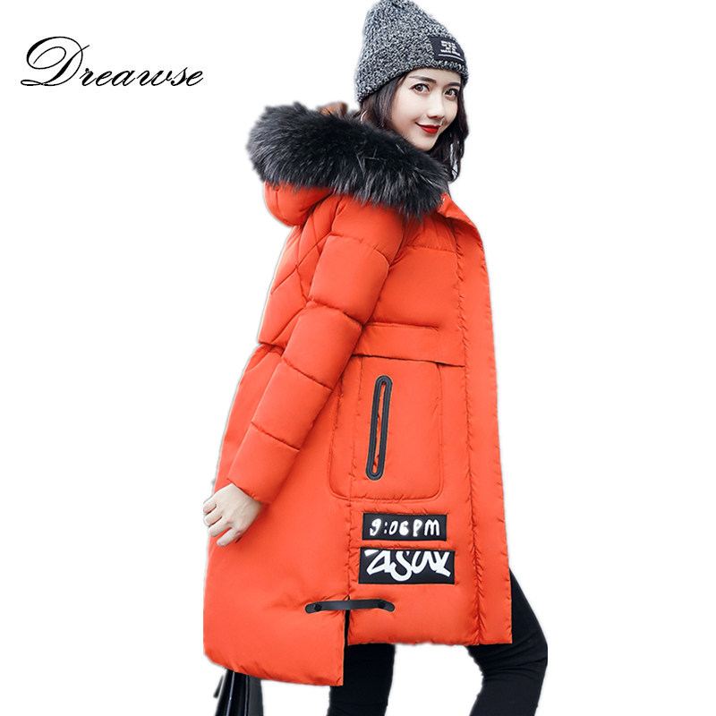 Dreawse Winter High Quality Coats Female Warm Mid-length Fur Collar Jacket Plus Size Thick Tide Parkas veste hiver femme MZ1914Îäåæäà è àêñåññóàðû<br><br>