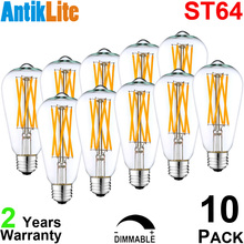 AntikLite 100/110/120/V 4 Watt ST21 E26 Antique Edison Style LED Filament Bulb, ST64 Incandescent 25/40 W Equivalent, 10 Pack(China)
