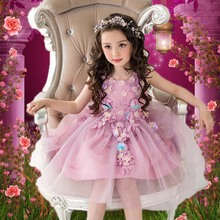 Princess Girl Dresses Wedding Party 2017 Brand Kids Costume Purple pink Sleeveless Floral Robe Mariage girls 1-13Y - Cute Kid's Garden Store store