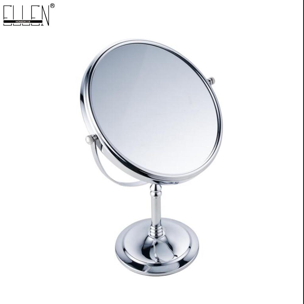Deck Standing Bathroom Mirror 8 Dual Makeup Mirror Magnifier Copper Cosmetic Bathroom Double Faced Bath Mirror<br>