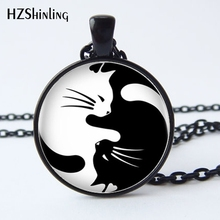 HZ--A376 Fashion newest Two Yin Yang Cats Necklace Pendant bronze glass Cabochon Long Chain Statement Necklace For women HZ1(China)