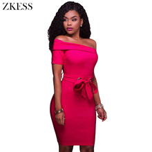 ZKESS Women Sexy Curve Bodycon Dress Sashes One Shoulder Night Club Party Mini Sim Dresses with Back Slit Zipper LC220137(China)