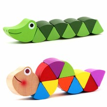 1pcs wooden crocodile caterpillars toys Twisting Worm for baby kids educational colors developmental toys birthday gift(China)