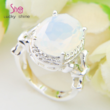 Top Jewelry Moonstone rings Silver plated finger Crystal ring wedding engagement Rings Jewelry wholesale R0803