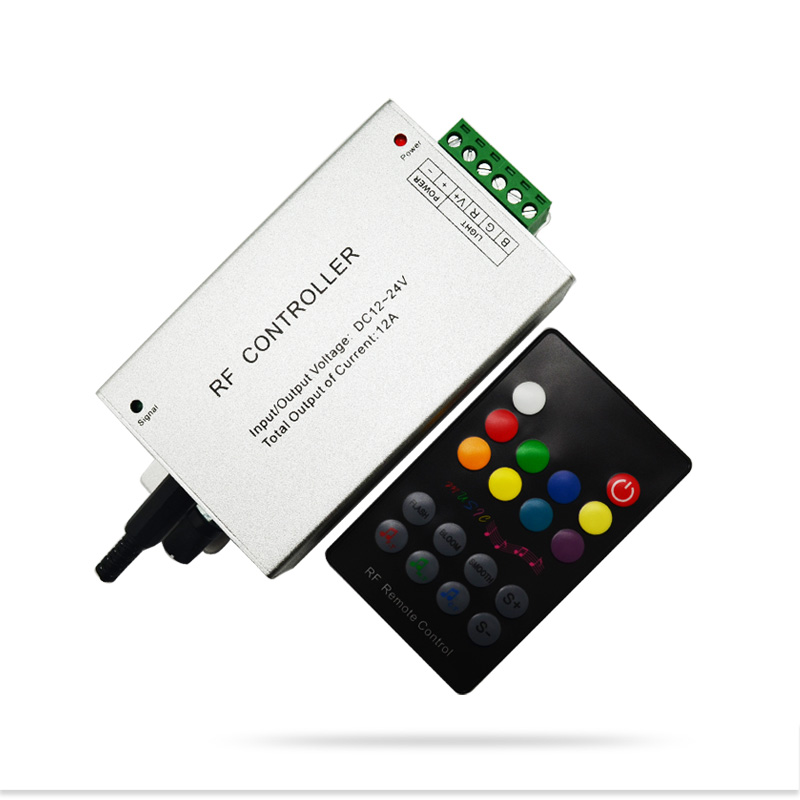 18 Key RGB Led Music Controller DC12V 24V Audio Sound 3 Channel*4A 12A RF 433.92mhz Wireless Remote to Control Strip Light<br><br>Aliexpress