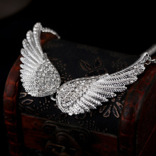 Pave Crystal Angel Wings Choker Necklaces For Women Fashion Jewelry Silver Plated Full Rhinestone Feather Pendant Necklace