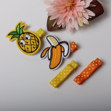4PCS Girls Cute Fruit Bee Flamingo Butterfly Sequin Embroidered Fabric Hair Clip Headbands Hairpins Kids Hair Accessories