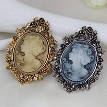 Vintage Style Antique Trendy Beautiful Lady Head Cameo Costume Brooch Hot Selling Top Quality Clothes Pins