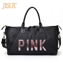 JXSLTC 2017 New Ladies Black Travel Bag Sequins Shoulder Bag Handbag Womens Handbag Ladies Weekend Waterproof Portable Wash Bag(China)