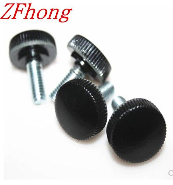 50pcs M5*8/10/12/16/20/25/30/35/40 black plastic knurled hand tighten thumb screw<br><br>Aliexpress