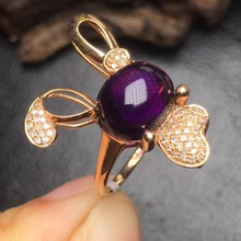 gems size 11.1*9.0mm gold 3.69grams fine jewelry certificated 18k gold natural purple amethyst ring fine women rings(China)