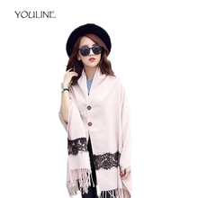 YOULINE Luxury Brand winter scarf women lace pattern cashmere scarves thick warm tassels soild shawls blanket pashmina S17502(China)