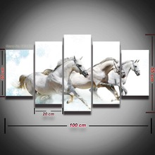 5 Panel Printed white horse picture animal canvas painting modern landscape wall decor Canvas art HD Print poster Framed artwork