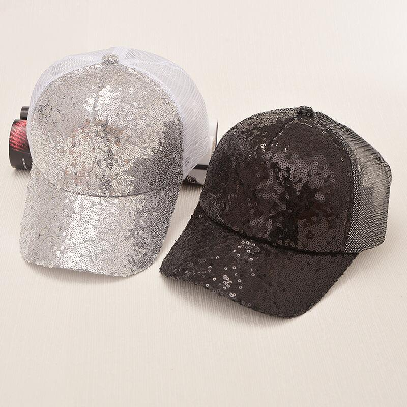 17 New Summer Black Sequins Baseball Caps For women Mesh Hat Net Cap Casquette Sparkling Leisure Sun Cap Adjustable Adult 7