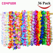 36 Counts Tropical Hawaiian Luau Flower Lei Party Favors Party & Holiday DIY Decoration u70828