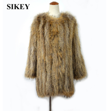 CR040  New real raccoon fur knitted coat long style women jacket winter olive green/ army green /white /black /brown 78cm