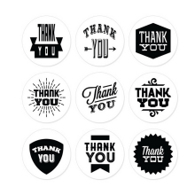 45PCS/5sheets THANK YOU Label Kraft Sticker Paper Seal Cooking Packaging stickers Black+White