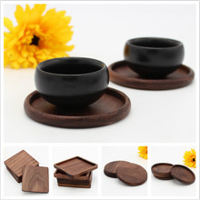 CFen A's 1 pc Black walnut Wood Coasters Cup Bowl Pad Mat Coffee Tea Cup Pads&Mats Teapot Drink Coasters(China)