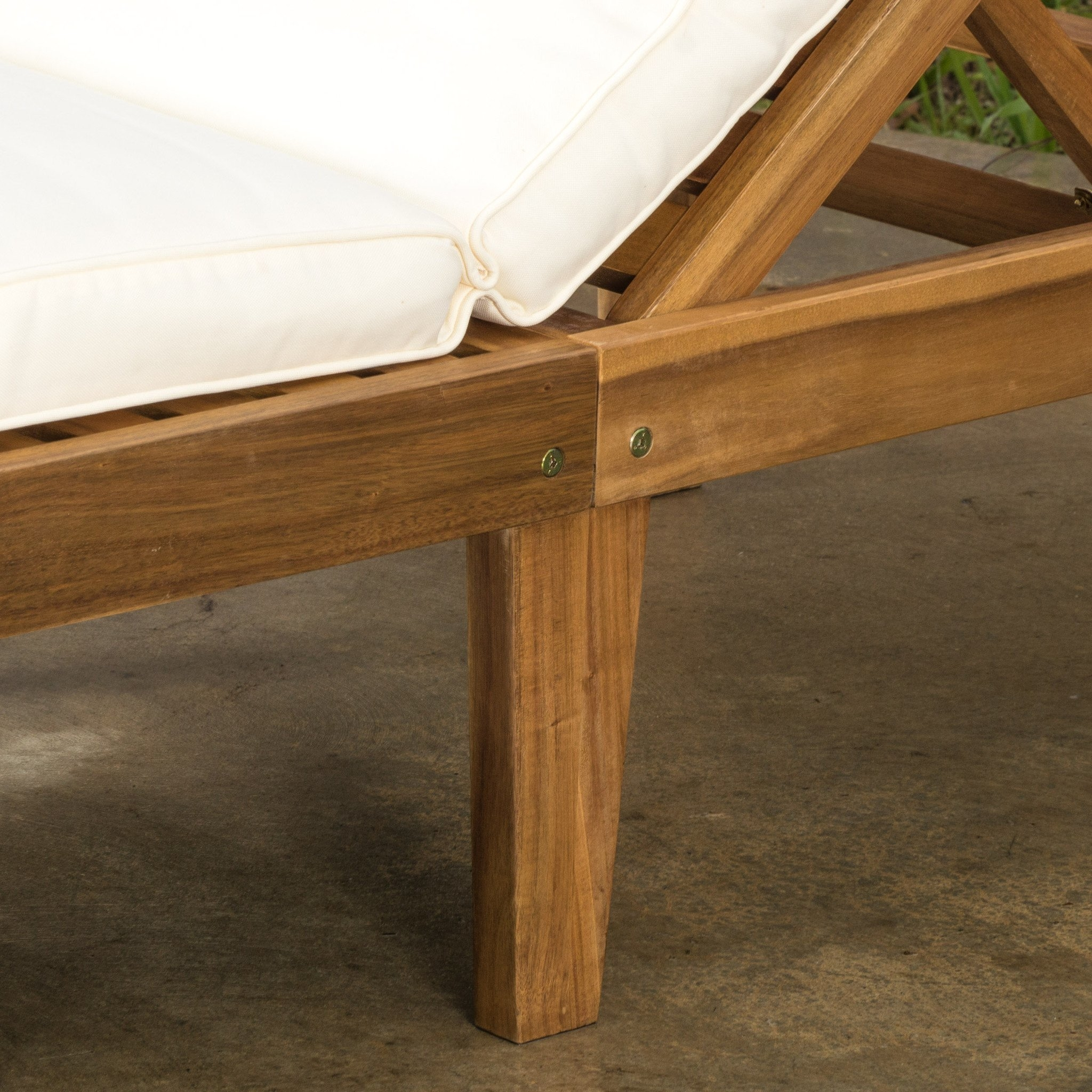 Paolo Outdoor Teak Brown Wood Chaise Lounge with Cushion (Set of 2) (3)