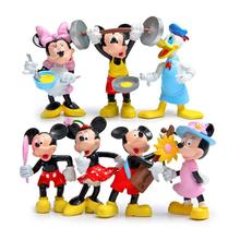 7pcs Mickey & Minnie Mouse Action Figures Life Style Mickey Minnie Donald Duck PVC Action Figure Toys Doll Collection Model Toy