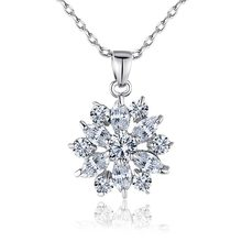 BISAER Hot Sell Gold Color Flower Necklaces Pendants with High Quality Cubic Zircon For Women Birthday Gift HMN024(China)
