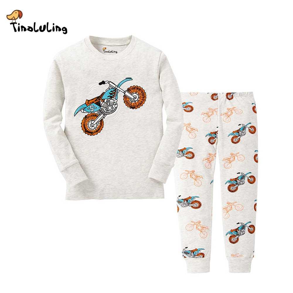 TINOLULING 21 дизайн дети мотоцикл пижамные комплекты для мальчиков  динозавр пижамы для девочек детские машинки детская 9ffc54ceaab21
