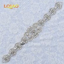 1pcs Hand Beaded Sew On Hot Fix Iron On Silver Crystal Rhinestone Appliques for Wedding Dresses DIY Bridal Sash Hair Accessories(China)