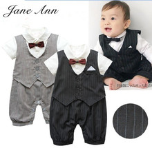 Newborn baby boy clothes gentleman style clothing Kids summer short-sleeved boys tuxedo black and gray bow tie striped Romper