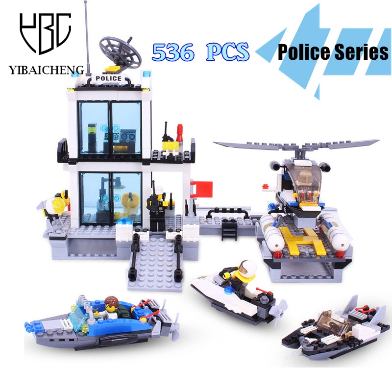 536Pcs Marine Police Series Blocks Toys Police Station Speedboat Helicopter Building Blocks Sets Educational Toys For Children<br>