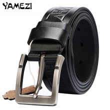 YAMEZI Brand designer mens belts luxury real leather belts for men metal buckle man Jeans pants genuine leather belt male strap