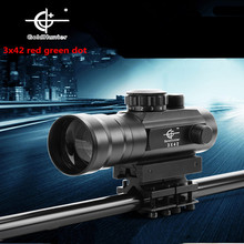 Newest 3X42 red and green dot sight riflescope telescope hunting gunsight for gun camera bird waching scope