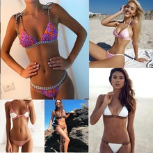 New Sexy Bikinis Women Swimsuit 2017 Push Up Swimwear Female Bikini Set Halter Top Summer Beachwear Plus Size(China)