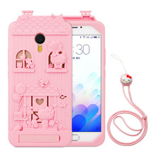 For Meizu M3 Max 3D Cartoon Fabitoo Hello Kitty Phone Case Soft Silicone Rubber Back Cover With Lanyard For Meizu Meilan Max